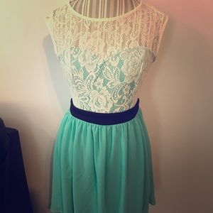 Lace and mint dress